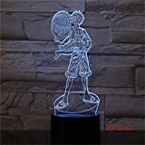 Solo 1 pieza 3D LED Interruptor táctil Luz nocturna Anime One Piece Luffy Lámpara de mesa USB 7 colores Atmósferas Decoración Iluminación LED