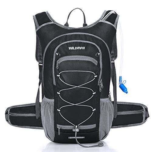 WILDMAX Hydration Backpack with 2L BPA Free Hydration Bladder, Water Rucksack Hydration Pack Backpack for Women Men Cycling, Hiking, Running, Climbing, Biking, Camping, Long Day Commuter (Black)