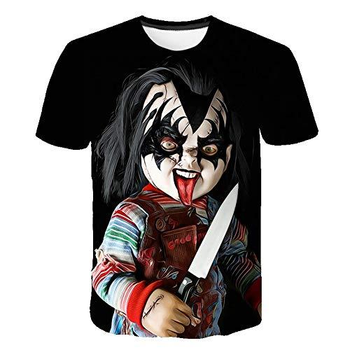Meibida Camiseta de Hombre Personalizada Camiseta con Estampado Tridimensional de bebé Chucky del Fantasma Tridimensional (6#,5XL)