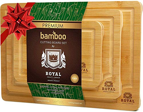 Organic Bamboo Cutting Board with Juice Groove (3-Piece Set)...
