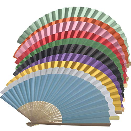 Lot de 10 éventails en papier et tiges de bambou Random Mix Colours