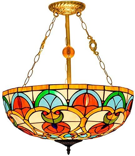 TOPNIU Art Nouveau Tiffany Style Lámpara Colgante de 20 Pulgadas Vintage Vintage Shade E27 Luz Colgante de Techo invertido para Dormitorio Sala de Estar 110V-240V (Color : B, Size : 20 Inches)