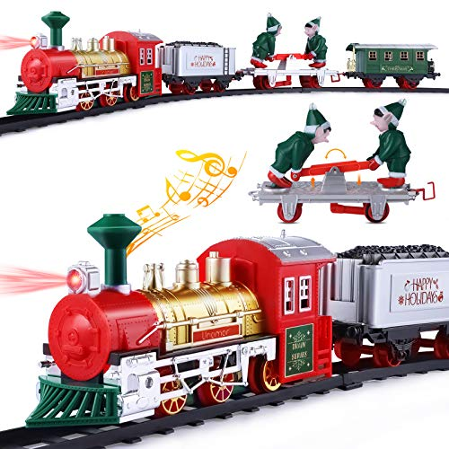 Unomor Train Set with Elf Handcar, Electric Train Toy Set with Light & Sound, Steam Train for Kids, Railway Tracks Kids Toy Train Gifts for 3 4 5 6 Year Old Boys Girls (Battery Operated)