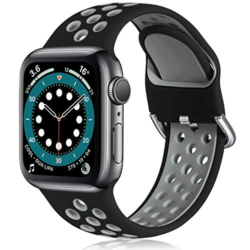 Witzon Compatible with Apple Watch Band 42mm 44mm Soft Silicone Waterproof Breathable Replacement Wristband Sport Bands for iWatch Series 1/2/3/4/5/6/SE Women Men, Black Grey, M/L