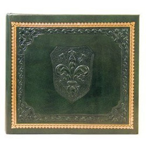 Eccolo Made In Italy Medici Embossed 6.5 by 7.5-Inch Album Scrapbook With 30 Ivory Pages, Green