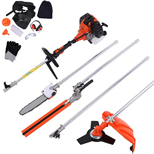 Iglobalbuy 52cc 5 in 1 Multifunction Grass Cutter Trimmer Brush Cutter Hedge Trimmer Chainsaw Earmuffs W/CE Certificate