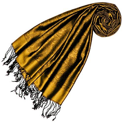 Lorenzo Cana Lorenzo Cana Luxus Frauen Pashmina 70% Seide 30% Viskose mit Paisleymuster gold Schaltuch 70 cm x 190 cm zweifarbig Schal Stola Damenschal Damenstola 7861777