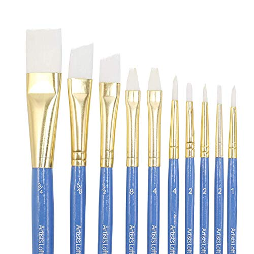 All Purpose Synthetic Paintbrush Set by Artist's Loft, White, 10 Count