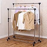Tendedero de ropa, tendederos de dos polos, perchero de acero inoxidable, marco de colcha de secado de balcón