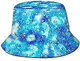 Unisex The Police Thin Blue Line Bandera Americana Sombrero de Cubo de Viaje Gorra de Pescador de Verano Sombrero para el Sol Patrón sin Costuras Cielo con Estrellas