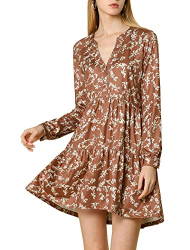 Allegra K Women's Fall Floral Long Sleeves V Neck Casual Babydoll Tiered Dress Medium Brown