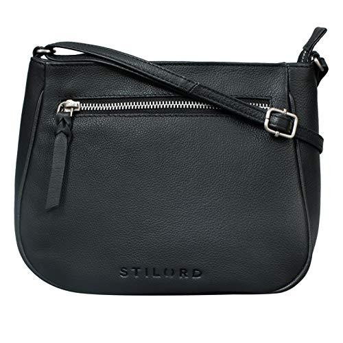 STILORD 'Samira' Handtasche Leder Frauen zum Umhängen Vintage Umhängetasche für Damen-Tasche Abendtasche Elegante Echtleder Tasche, Farbe:schwarz