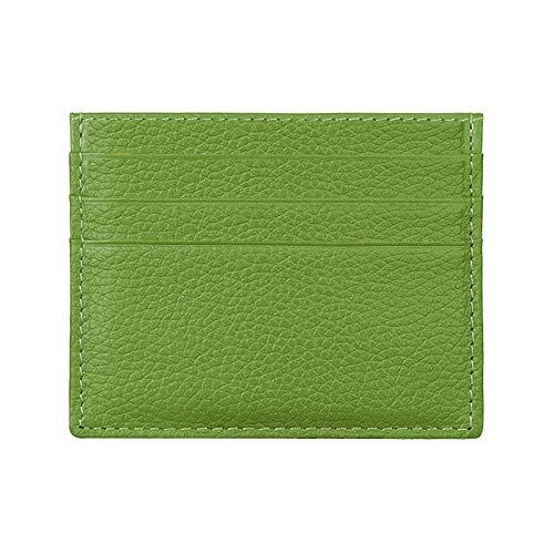 Hibate (Verde) Mini Cuero FRID Tarjetero Fundas para Tarjetas de Crédito Cartera Hombre Mujer Señoras Niña Niño Piel Billetera