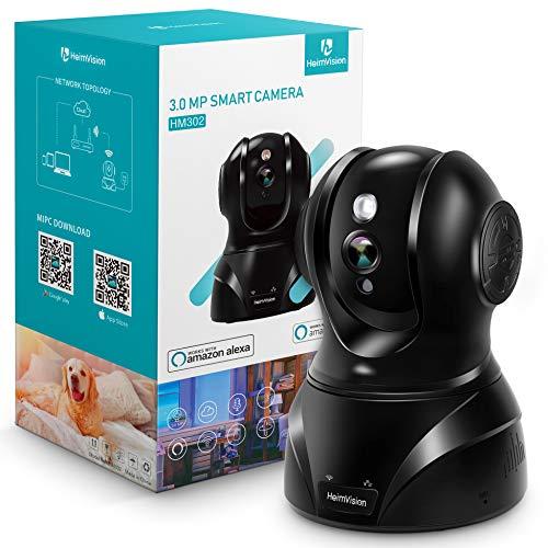 HeimVision 3MP WLAN IP Kamera Überwachungskamera 360° Schwenkbare Kamera Baby/Haustier/Zuhause Monitor, Innenraumsicherung mit Nachtsicht Gegensprechfunktion, Bewegungsmelder, Kompatibel mit Alexa