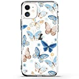 RXKEJI iPhone 11 Case Clear Cute Girls Floral Design TPU Soft Slim Flexible Silicone Cover Phone Case for iPhone 11 6.1 inch 2019 - Butterfly Blue