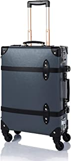 """COTRUNKAGE Spinner Vintage Luggage Pasco Carry On Suitcase with TSA Lock (20"""", Grey/Black)"""