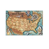 DFSW Native American Tribes Map of North America,American History Black and White Art Retro Poster Poster Decorative Painting Canvas Wall Art Living Room Posters Bedroom Painting 08x12inch(20x30cm)