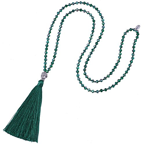KELITCH Fashion Crystal Strand Necklace Long Chain with Buddha Head Tassel Pendant - Deep Green