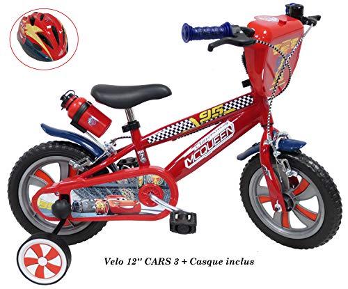 Vélo 2142 c Bicicleta de 12 3 Pulgadas para niños de 2 a 4 años (de 95 cm) + Casco Cars Incluido, Rojo
