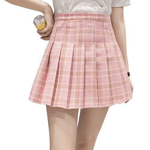 Hoerev Frauen Mädchen Kurze hohe Taille gefaltete Skater Tennis Schule Rock,Pink Stripes,40 / XL