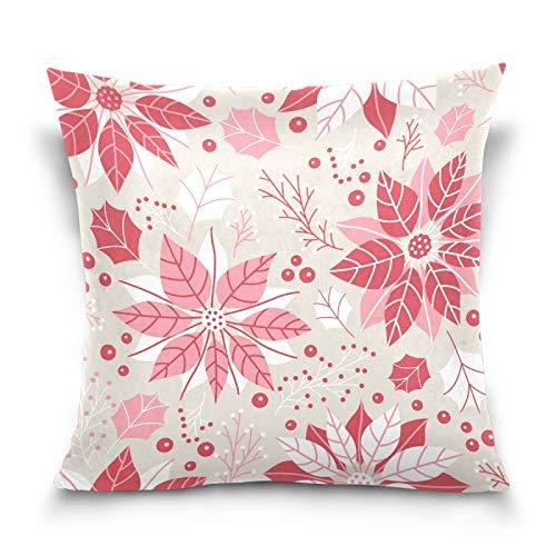 HMZXZ Funda de almohada decorativa de 40,6 x 40,6 cm, diseño floral, color rojo