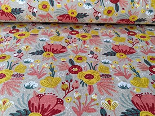 Qualitativ hochwertiger Jersey Stoff mit Blumen Senf/Koralle als Meterware zum Nähen von Damen, Kinder- und Babybekleidung - GOTS zertifiziert, 50 cm