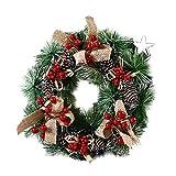 Corona de Navidad, corona de bayas hecha a mano, corona rústica con adorno de árbol de Navidad mixto