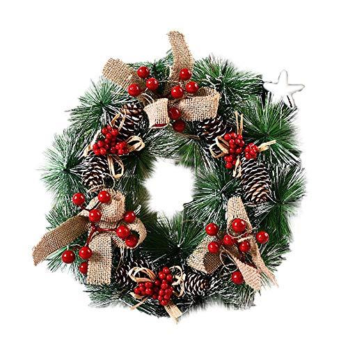 Guirnalda de Navidad en la Puerta Principal, Colgante Ornamento Puerta, Corona Hogar y Fiesta Decoración día de Gracias Corona Adorno de Pared para Navideñas Nudo de Navidad Copo de Nieve 32 CM
