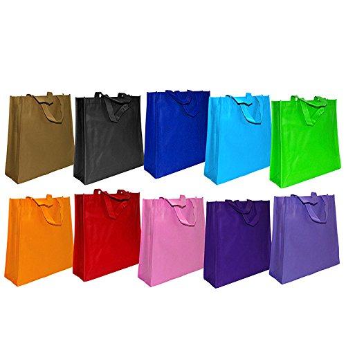 100x Einkaufstasche 10-farbig gemischt | 35 x 36 + 12 cm Falte | Polypropylen | PP-Non-Woven-Tasche | Vliestasche | Stofftasche | Tragetaschen | Tüten | Verpackung
