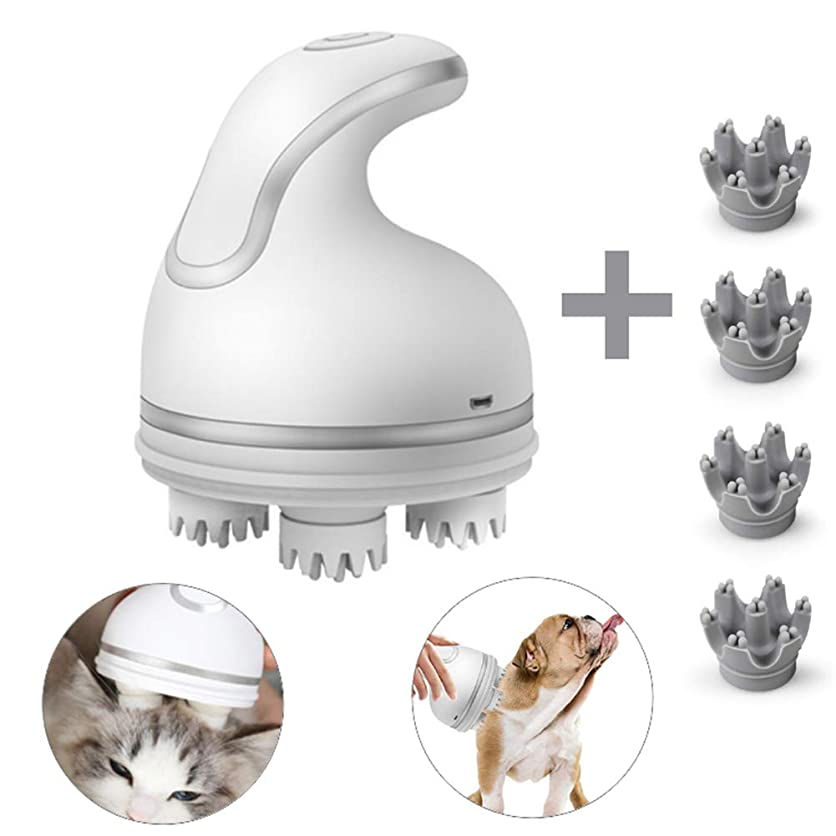思慮深いマディソンパンサー電気ペットマッサージャーusb充電3dヘッド猫全方向自動回転マッサージャー洗える面白い猫のおもちゃペットの犬,Silver