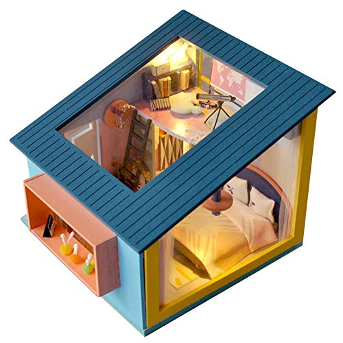 QUUY DIY Hölzernes Puppenhaus Kit, Häuser Für Minipuppen, DIY Miniatur Puppenhaus Kit Mit Möbeln LED-Leuchten, Handgefertigte Mini Haus Für Weihnachten Geburtstag Hochzeitsgeschenk