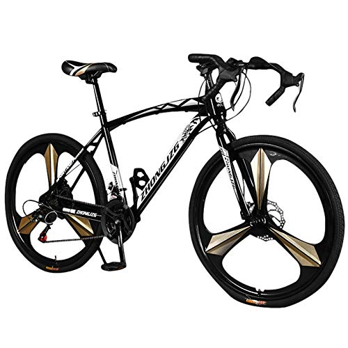 Adults Folding Bikes, Commuters Aluminum Full Suspension Road Bike 21 Speed Disc Brakes, 700c, Double Disc Brake and Dual Suspension Anti-Slip Bicycles, Free Pedals & Comfortable Seat