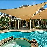 Amazon Brand - Umi. Toldo Vela Triángulo De Tejido Impermeable con Protección UV Y Cuerdas para Instalación En Patios, Azoteas Y Jardines, 5 x 5 x 7 m- Arena