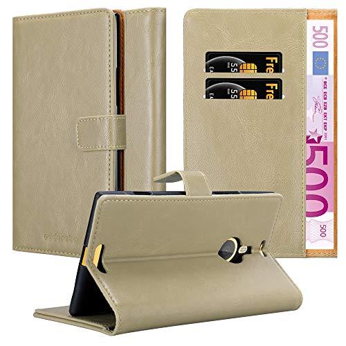 Cadorabo Hülle für Nokia Lumia 1520 - Hülle in Cappucino BRAUN – Handyhülle im Luxury Design mit Kartenfach & Standfunktion - Hülle Cover Schutzhülle Etui Tasche Book