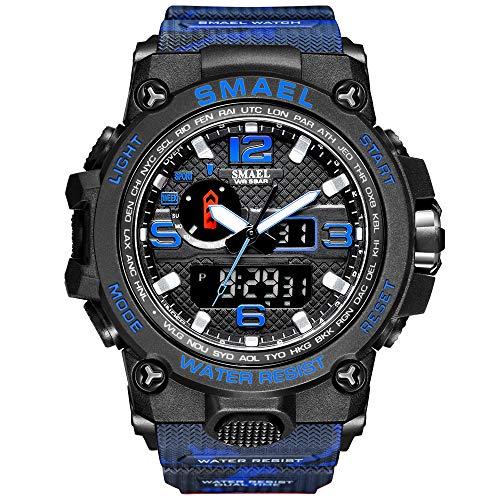 GOHUOS Herren Militärische Sportuhr, Analog Digital Sportuhr mit PU-Uhrenarmband (Blaue Tarnung-A)