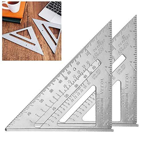 MONSIVILIA 2 Stück Dreieck Winkelmesser Aluminium Dreieck 7 Zoll Dreieckslineal aus Aluminiumlegierung Dreieck Lineal Silber Quadrat Winkelmesser Anschlagwinkeldreieck für Zimmermann
