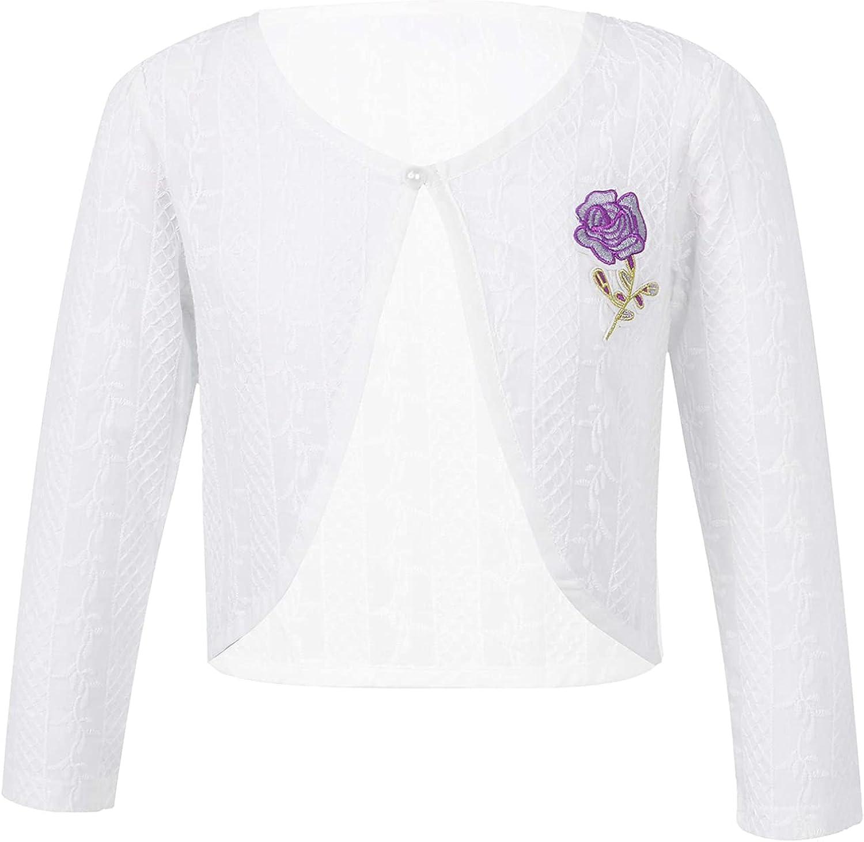 FEESHOW Toddler Big Girls Long Sleeve Bolero Jacket Shrug Short Cardigan Sweater Wedding Holiday Spring Autumn Coat