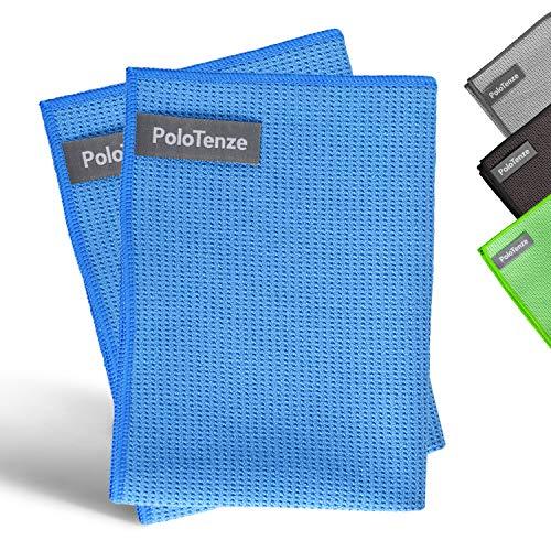 PoloTenze Premium Mikrofaser Trockentuch Waffeltuch | 40x60 cm | für Auto, Glas, Küche, Geschirr, Bad uvm. | Blau, 2er Pack