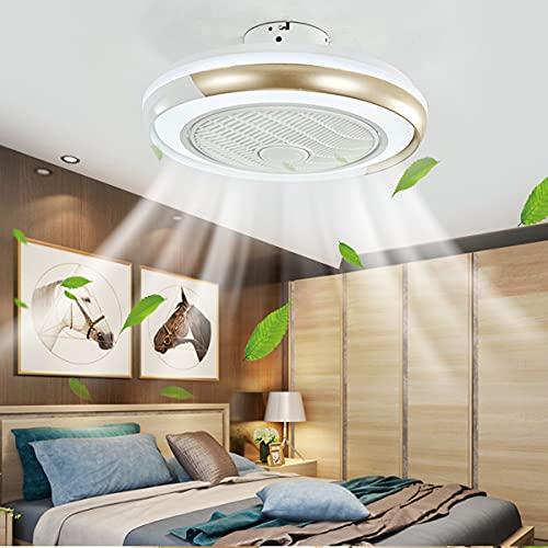 HAITOY Ventiladores de Techo con Luces silenciosas, Luces de Techo Modernas con Ventilador, Control Remoto, 3200-6500k, 3 Colores, 3 velocidades, candelabro Moderno para Sala de Estar o Cocina,Oro