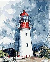 Diyデジタル絵画デジタル絵画望楼キャンバス油絵と絵筆装飾ギフト