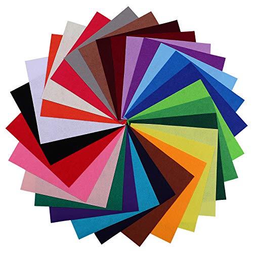 OUNONA Fogli Feltro colorato Set Feltro pannolenci in Fogli di 30x30 cm per Mestieri Fai da Te 28PCS