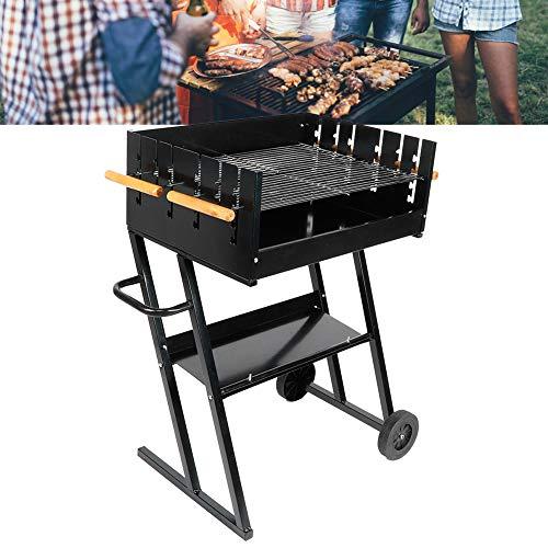 Dioche Party - Barbacoa de carbón y leña de acero con carrito de carbón y parrilla de jardín ajustable, para picnic y camping, fiestas al aire libre, color negro