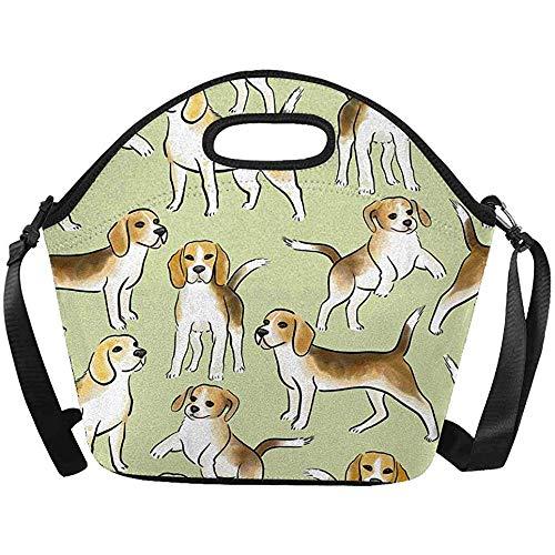 Handtas, Grote Geïsoleerde Neopreen Lunch Bag Leuke Beagle Hond Lunchbox Handtas met Schouderband