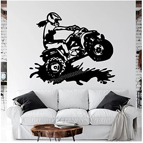 WYLYSD Quad Wandtattoo Motorcross Dirty Girl Free Style Fahrrad Wandaufkleber Dirt Bike Motorrad Kinder Teenager Zimmer Dekor 67X57Cm