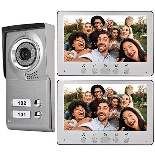 Video Türklingelanlage,Bewinner 2 Familien Intercom Türklingel System,Audio Visuelle Gegensprechanlage mit 7 Zoll LCD Bildschirm/Freisprechfunktion/aktiver Überwachung(EU-Stecker)