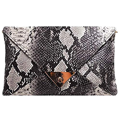 Material:Good quality PU leather, superior materials snakeskin texture, make it more luxury and elegant Structure: Designed with 1 main compartment, spacious enough to hold all your personal belongings in it like ID card, keys, credit card, cash, cel...