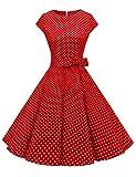 Dressystar Vestidos Coctel Corto Vintage 50s 60s Manga Corta Rockabilly Elegante Mujer Rojo Blanco Lunares A M
