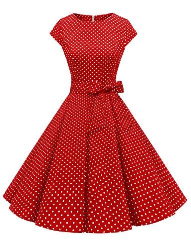 Dressystar Damen Vintage 50er Cap Sleeves Dot Einfarbig Rockabilly Swing Kleider Rot Weiß Dot A XXXL
