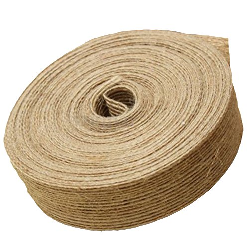 50M Arpillera de Yute Craft Ribbon,Natural Yute Arts and Crafts Cuerda de yute, para florística, tarjeta de boda, manualidades de bricolaje, decoración de envoltura de regalos, agrupación, Marrón (2 c