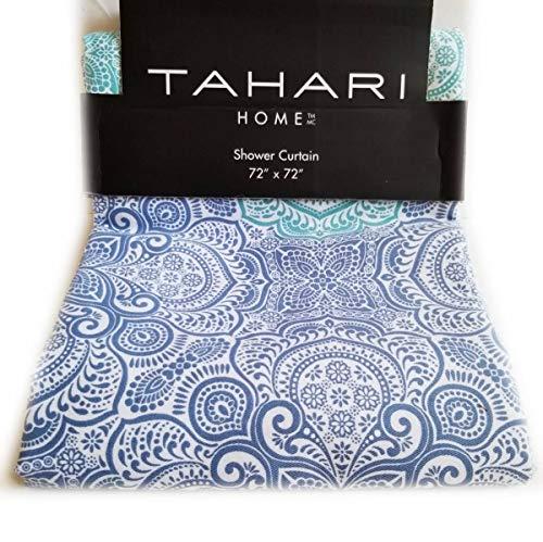 Tahari Stoff-Duschvorhang, Boho-Stil, Batik, Hippie-Ombré-Muster in Blautönen auf Weiß, 183 x 183 cm (Ombre Rhombus)